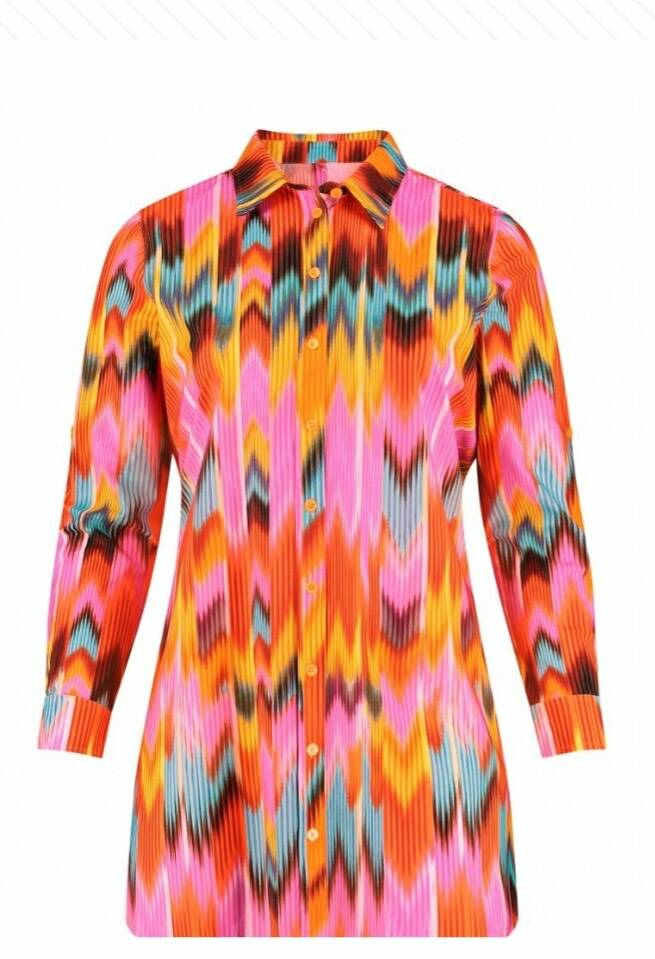 Plus Basics blouse lang zig-zag 8XL-Z
