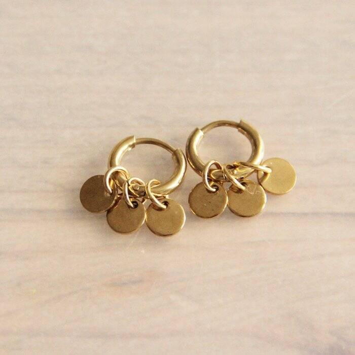 Oorringen stainless steel creoles with 3 round charms - gold
