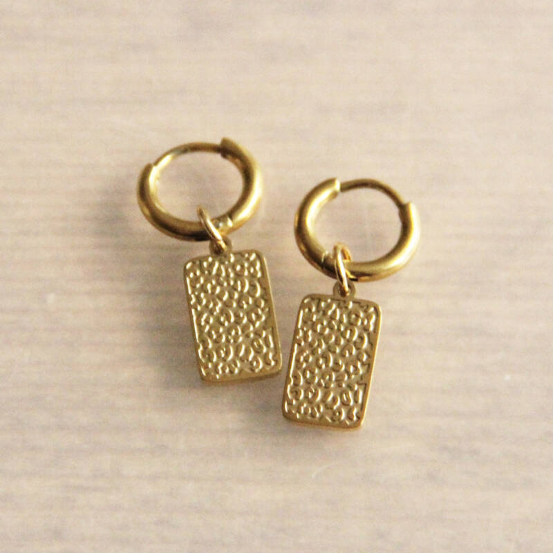 Stainless steel creoles with tag with leopard print - gold