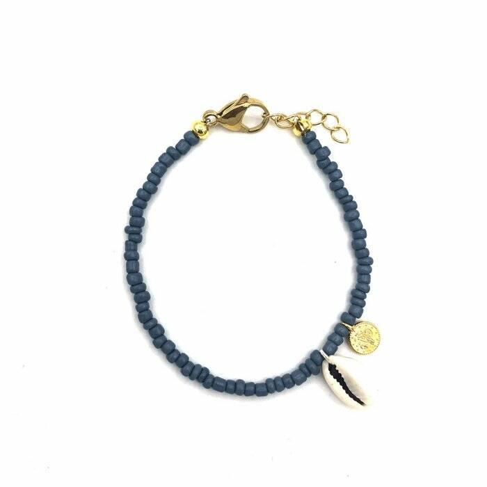 Armband Shells coins - navy gold