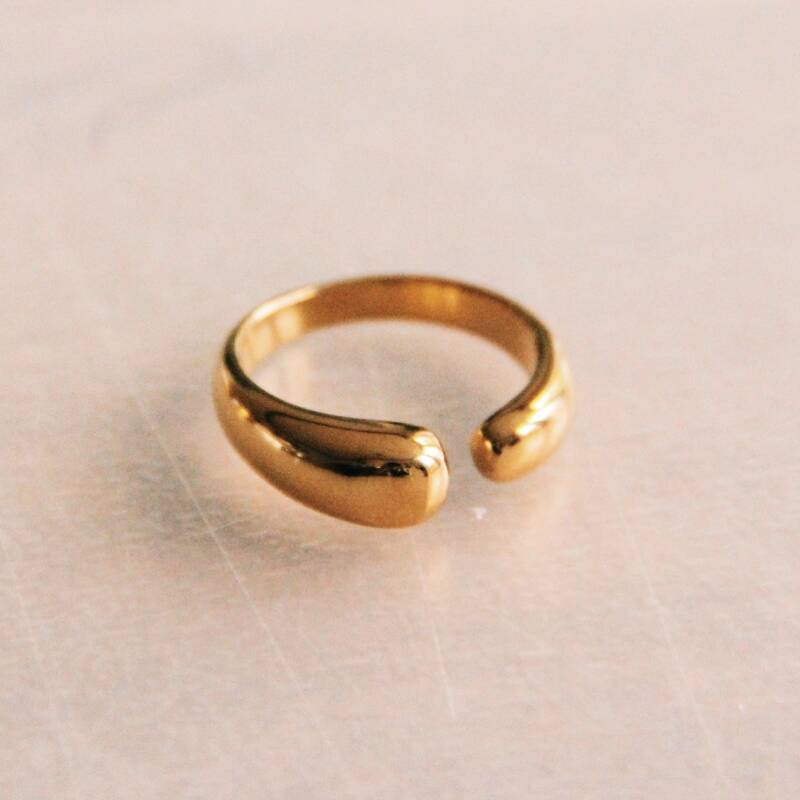 Stainless steel open ring - gold