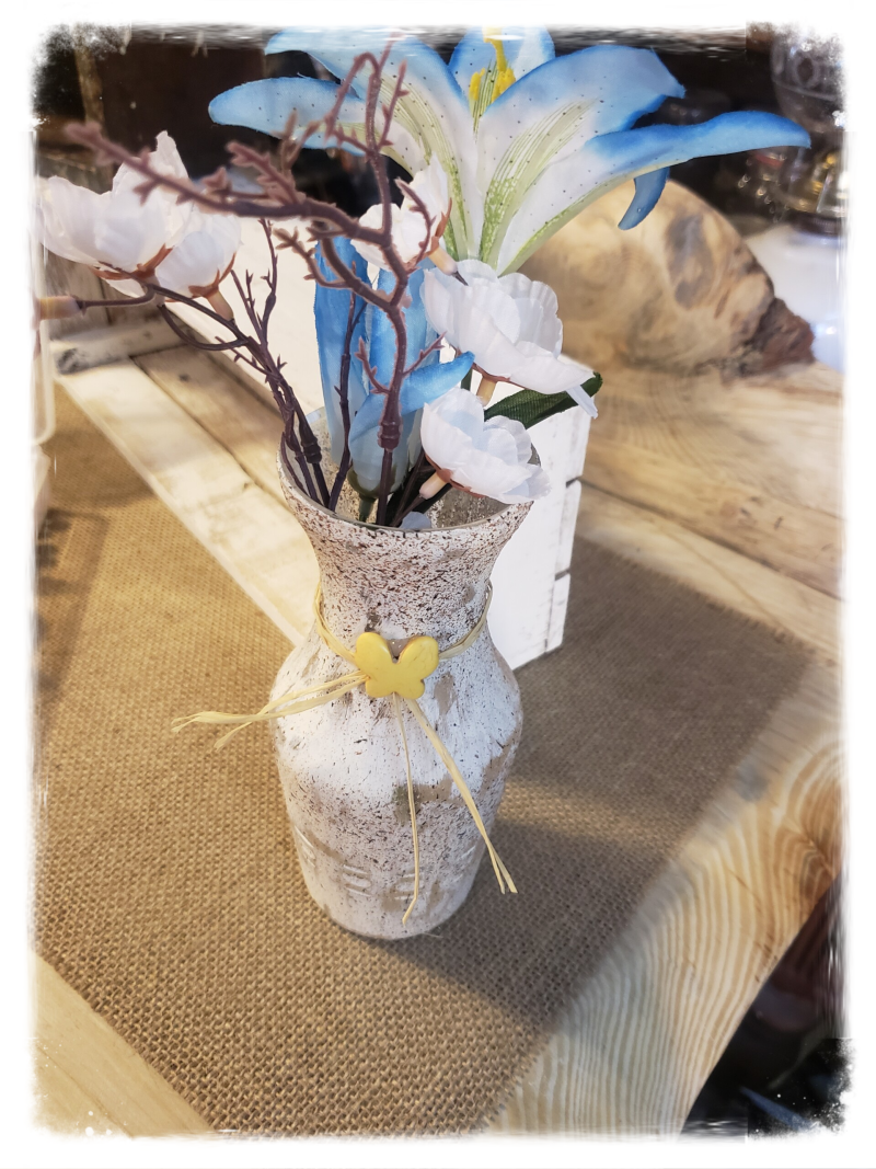 RUSTIC VASE WITH FLOWERS