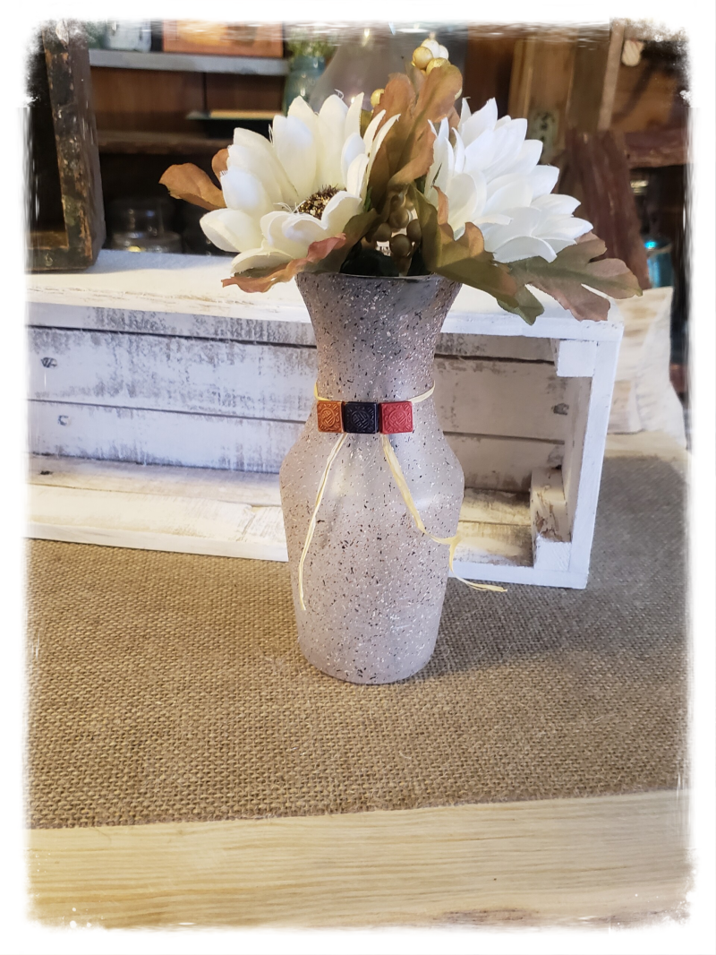 RUSTIC  FARMHOUSE  FROSTED VASE
