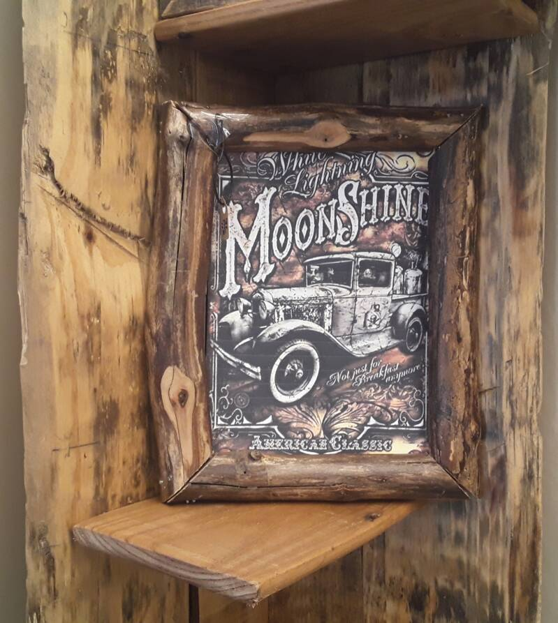 LOG FRAME WITH MOONSHINE CAR PICTURE