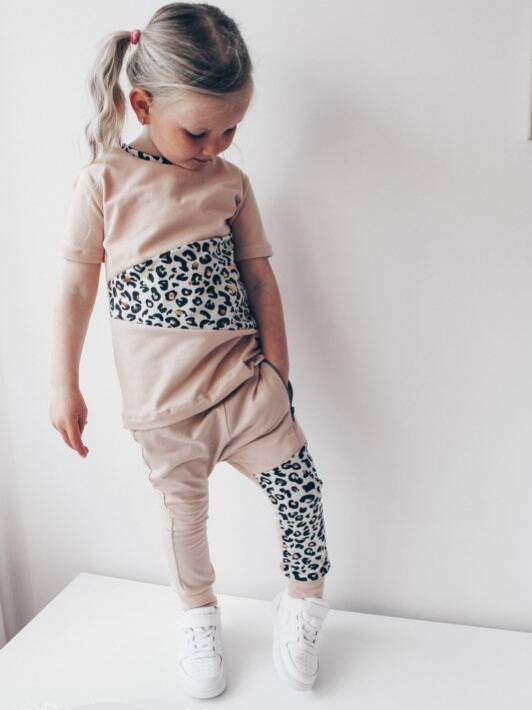 Outfit met rits - Oudroze / Luipaard