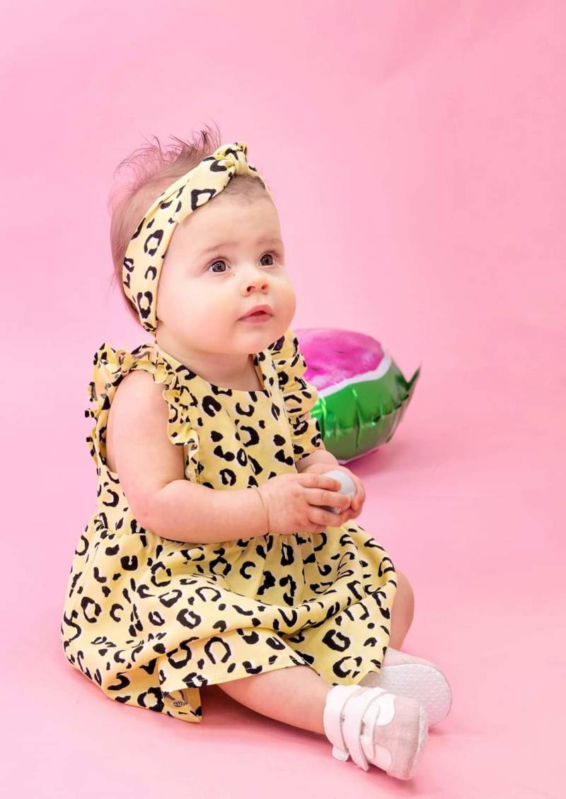 Ruffle Dress - Yellow Leopard