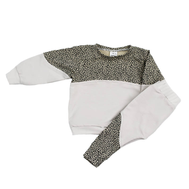 Exclusieve Sweater 2-colour - Baby Cheetah & Grey Vanilla