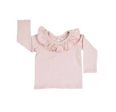 Ruffle Top Sleeved - Stripy Pink