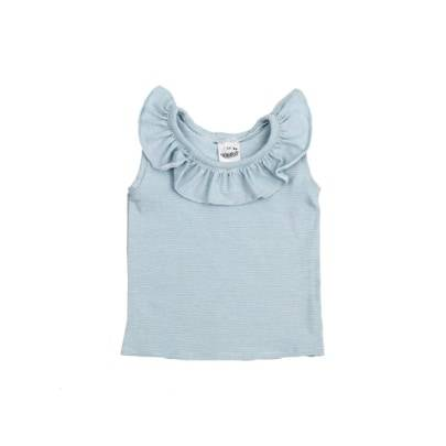 Ruffle Top Sleeveless - Stripy Blue