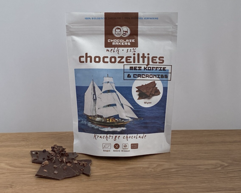 Chocolatemakers Chocozeiltjes 52% koffie & nibs