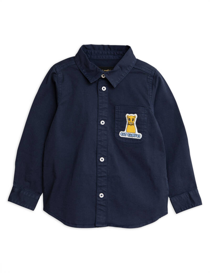 Mini Rodini cat campus woven shirt navy