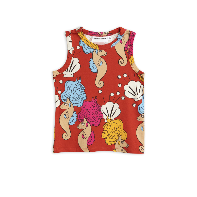Mini Rodini - Red seahorse tank top