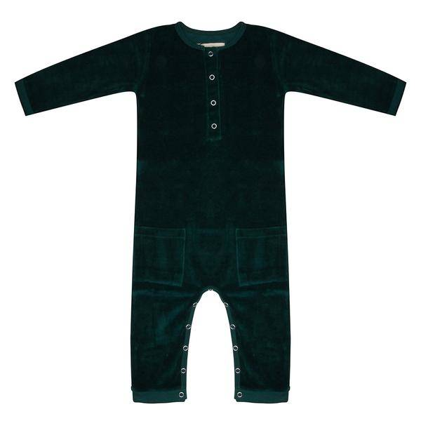 Little indians Jumpsuit Pine Trees green velours