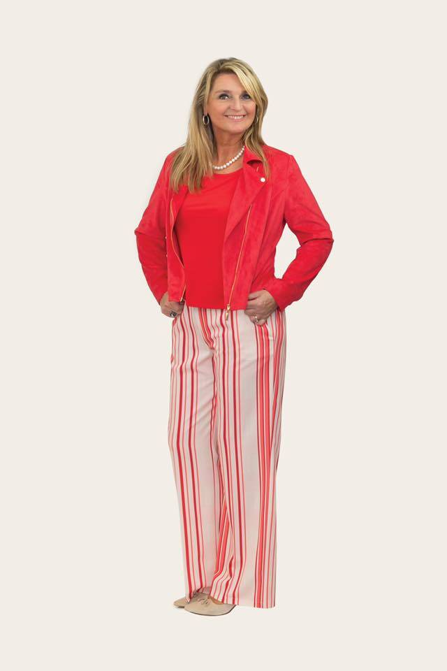 Wide red striped pants