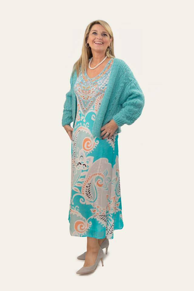 Paisley dress turkoois