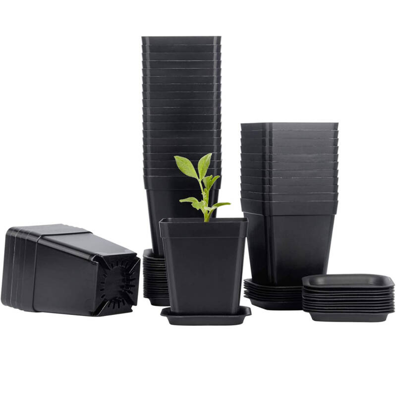 Mhonniwa Plastic Square Nursery Pots 3 Inch Plant Seed Starting Pots with Drainage Hole and Saucers for Seedling, Black