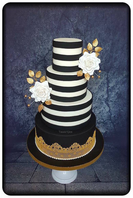 zwart wit goud bruidstaart / Wedding Cake black white gold