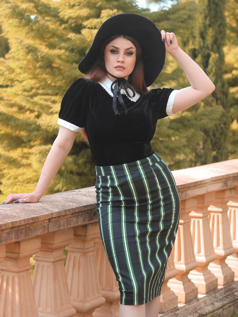 Polly Witch Stripes Pencil skirt