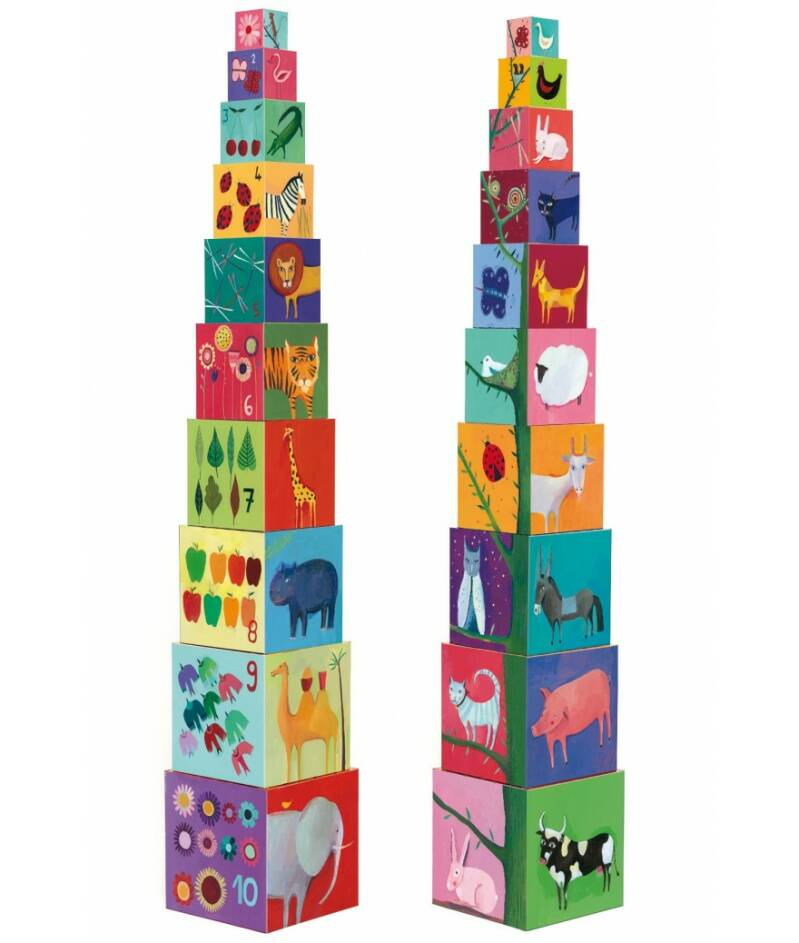 Stapeltoren 10 cubes Nature & Animaux 1+