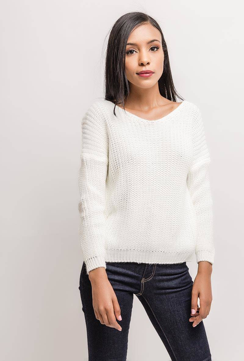 Witte pull met open rug one size