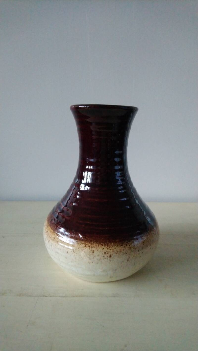 Vintage Bay fat lava vaasje West Germany bruin beige brown vase