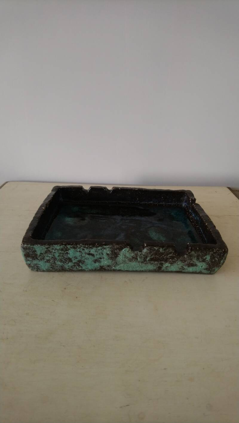 Vintage grote fat lava asbak bruin turquoise paars