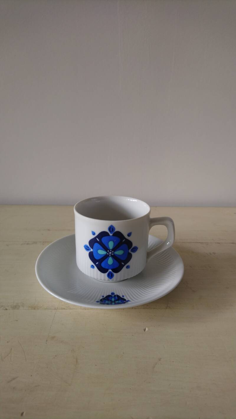 Vintage kop en schotel blauwe bloem / cup and saucer with a blue flower
