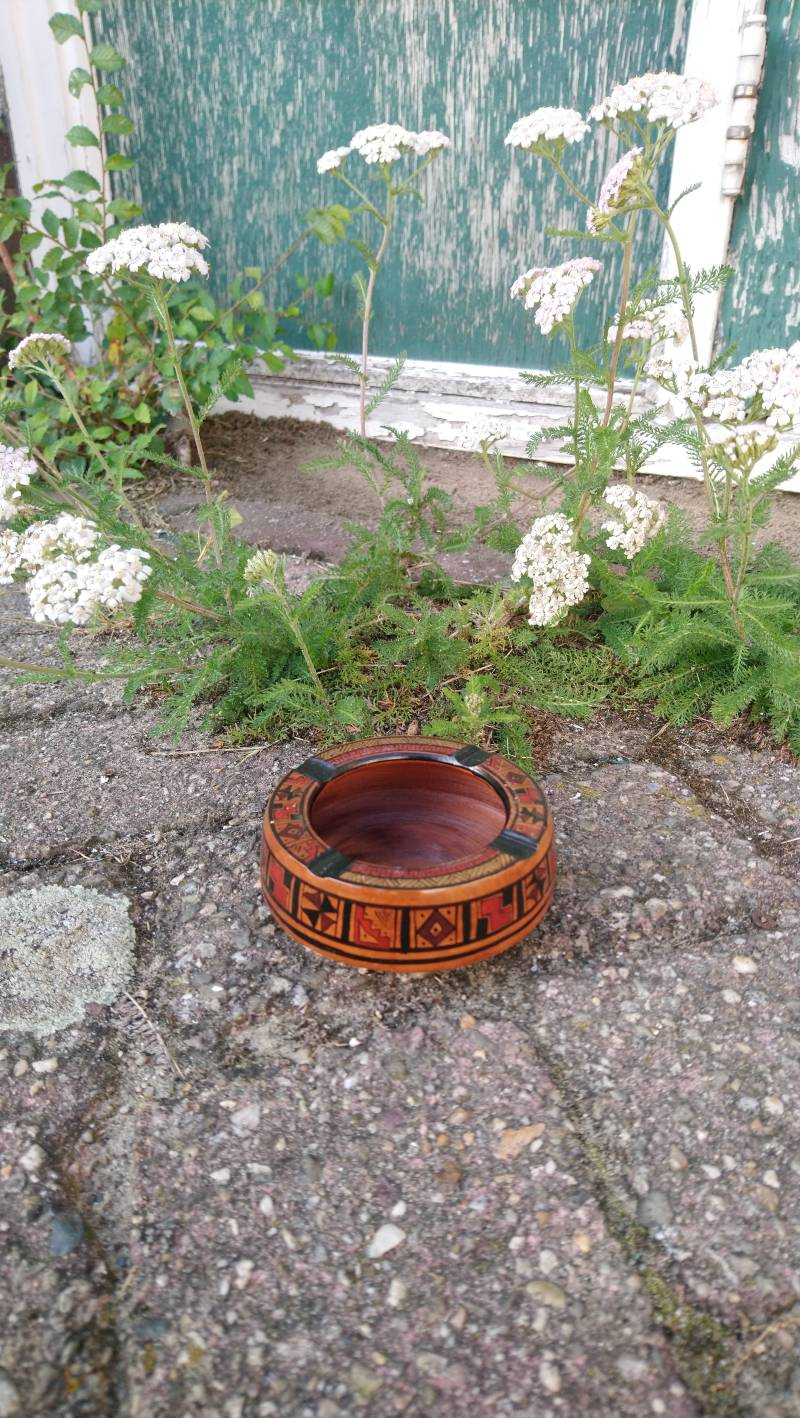 Vintage bruine asbak Peru Pisac Cusco brown ashtray