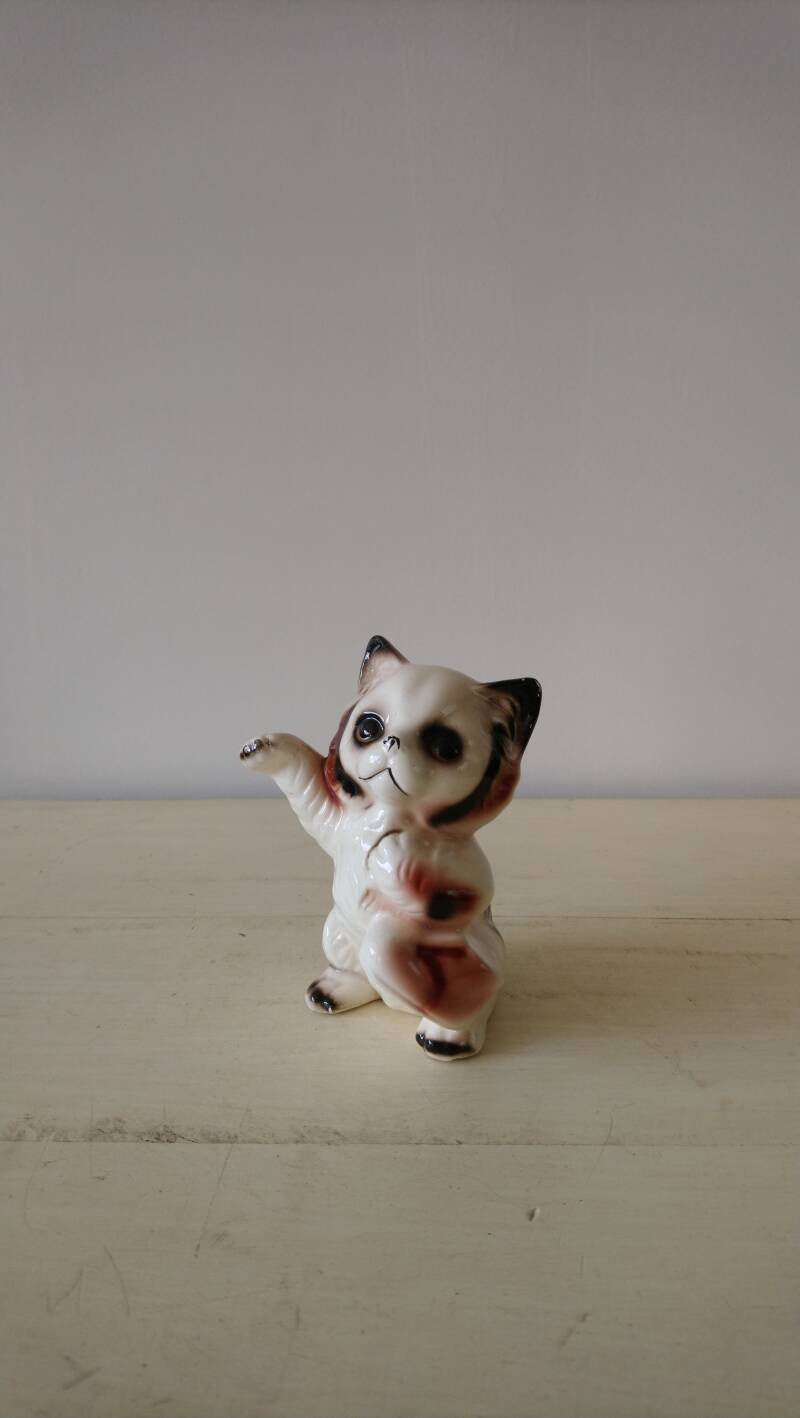 Vintage kattenbeeldje poes of kat met schoen cat with shoe figurine