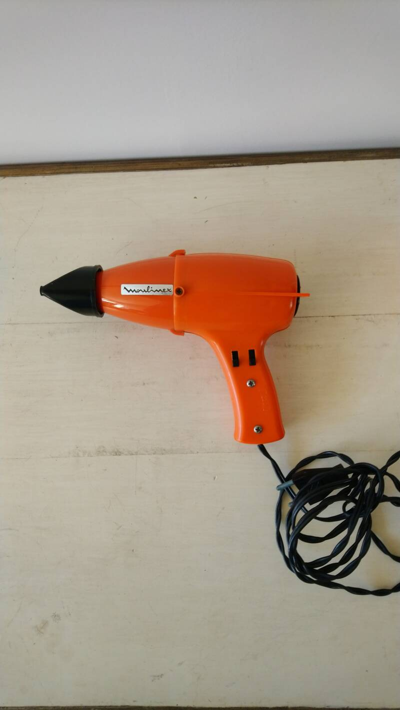 Moulinex vintage oranje föhn jaren 70 / 70's orange hair dryer