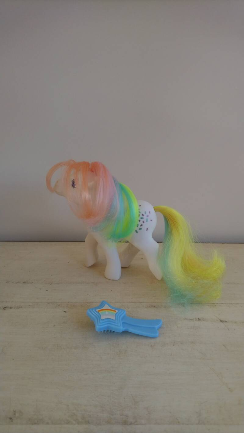 "Vintage My Little Pony G1 ""Confetti"" Rainbow Pony Hasbro 1984 Hong Kong"