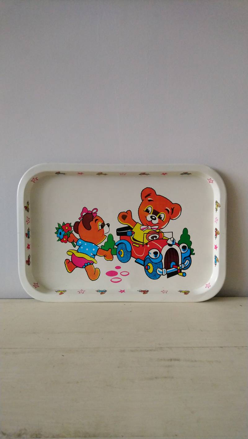 """Vintage dienblad """"beertjes in auto"""" tray bears with car"""