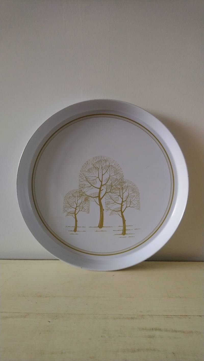 Vintage wit dienblad met gouden bomen / white tray with gold trees