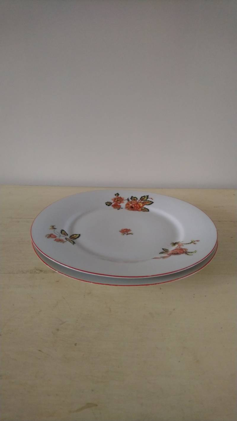 Set van 2 vintage ontbijtbordjes met oranje bloemen / two breakfast plates with orange flower print