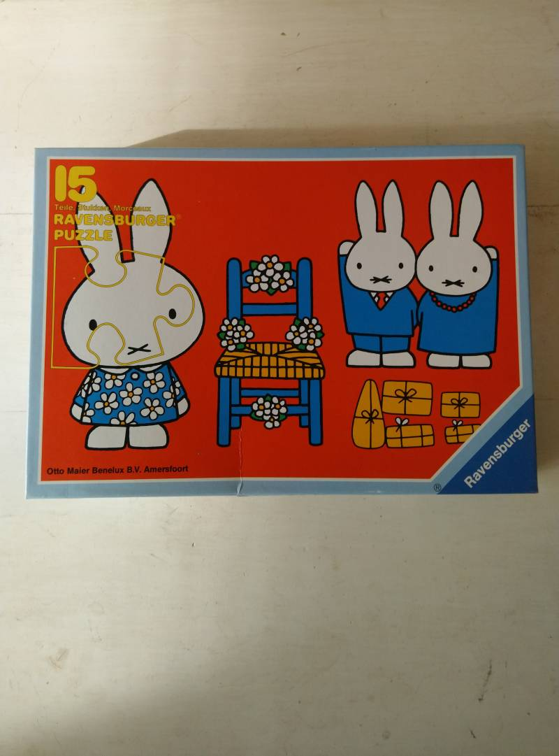"Vintage Ravensburger puzzel ""Nijntje is jarig"" Dick Bruna 1977 Miffy's birthday puzzle"