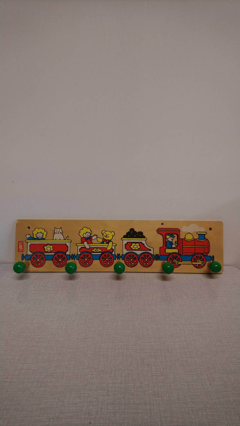 "Vintage Sio Amsterdam houten kinderkapstok ""trein"" wooden children's coat rack ""train"""