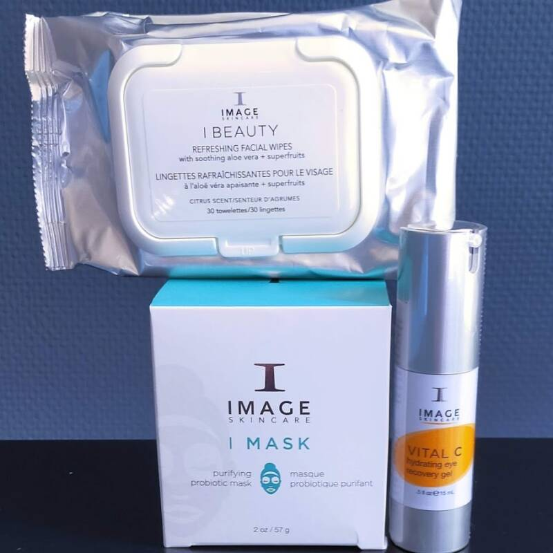 Image Skincare Purifying probiotic mask, Vital C hydrating eye recovery gel, Refreshing facial wipes