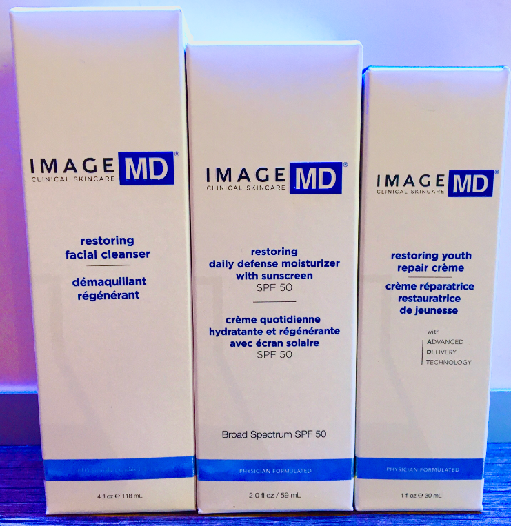 MD Restoring Facial Cleanser, Restoring Daily Moisturizer, Restoring Youth Repair Creme
