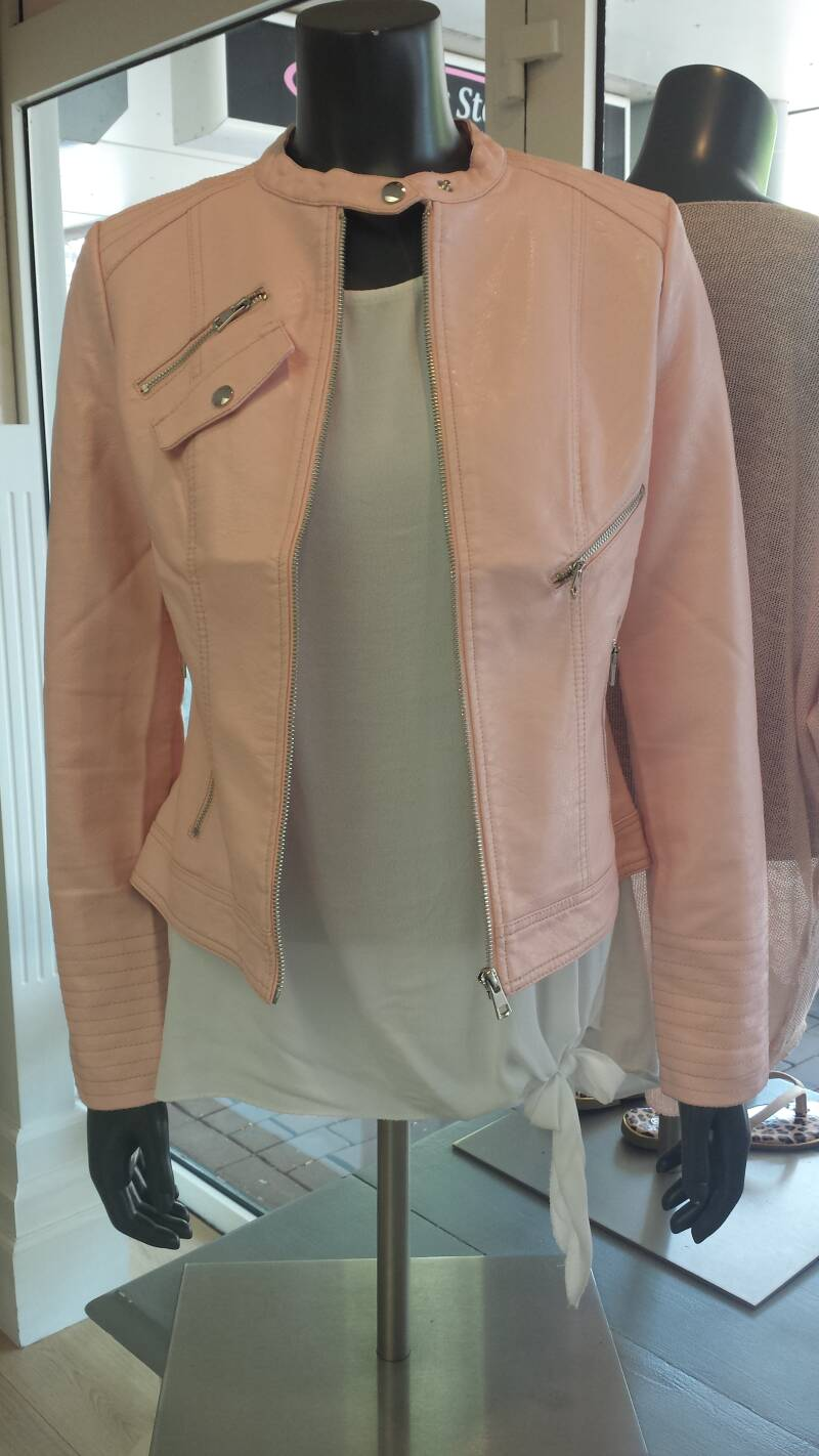 Lederlook Jacket Pink