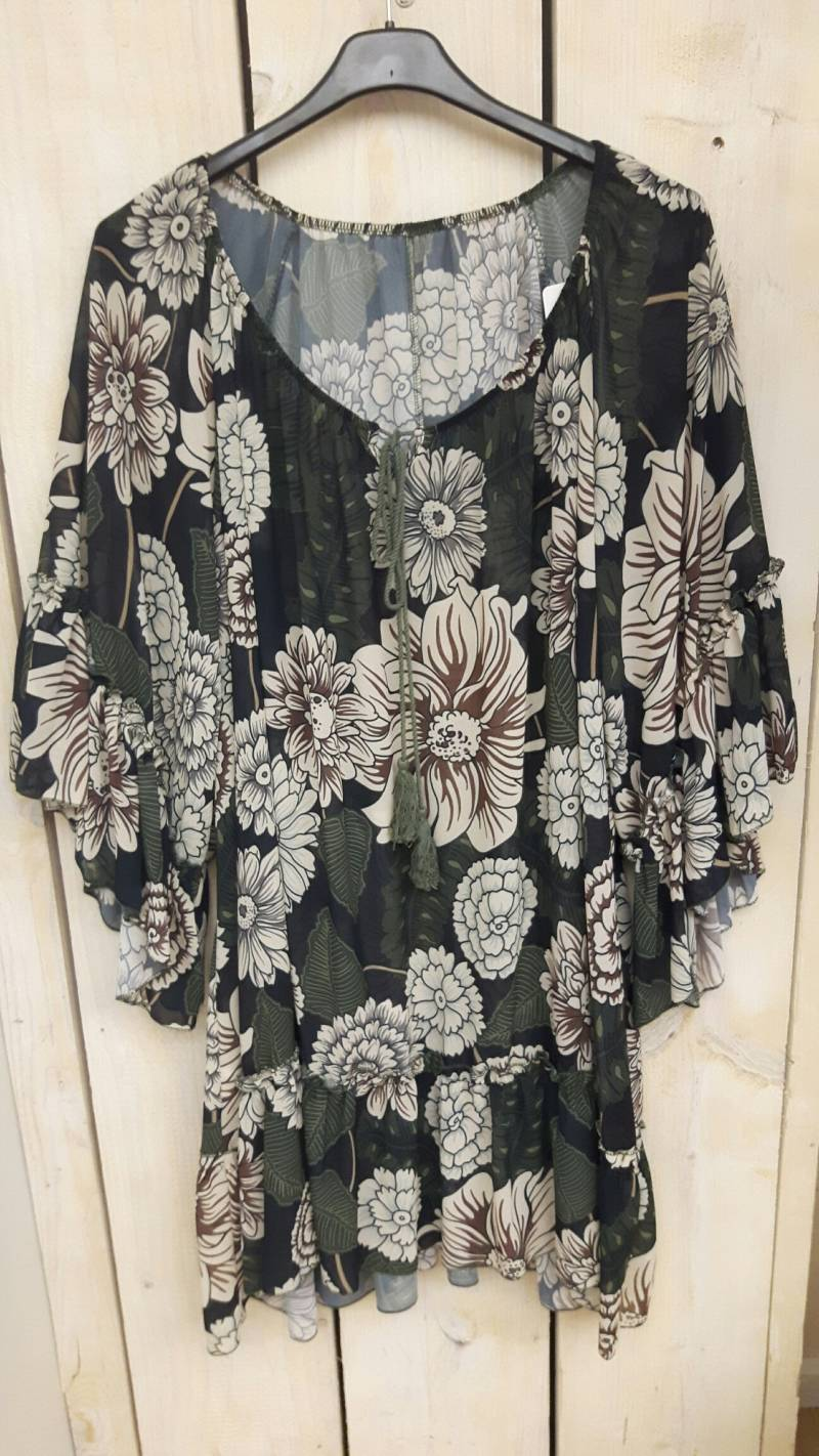 Blouse Army Flower
