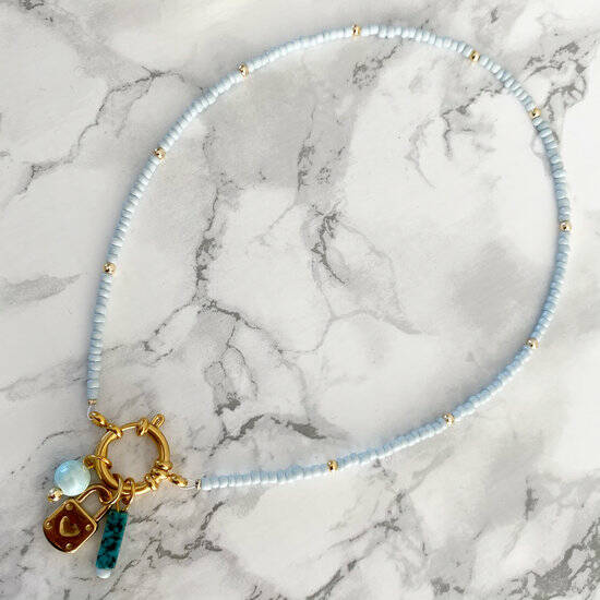 Necklace Marble - Light Blue