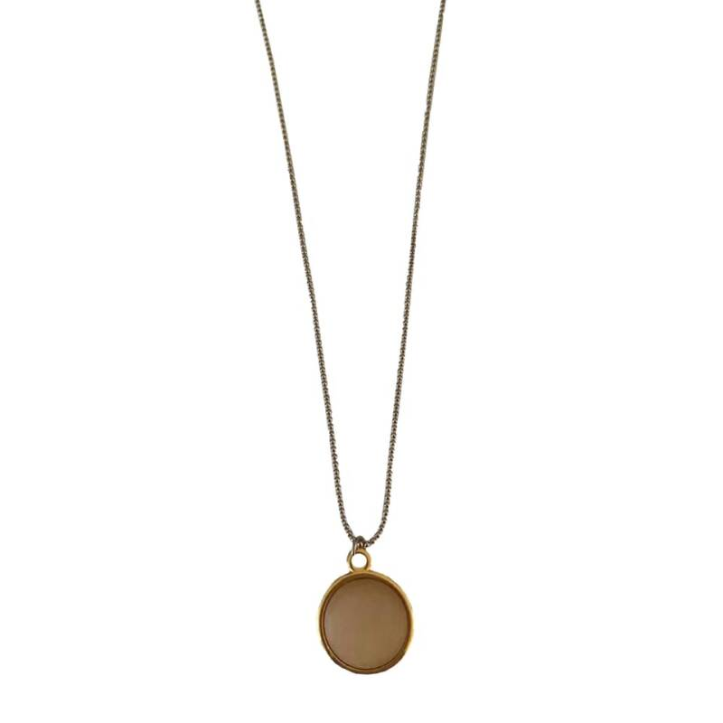 Necklace Coin - Beige (long)