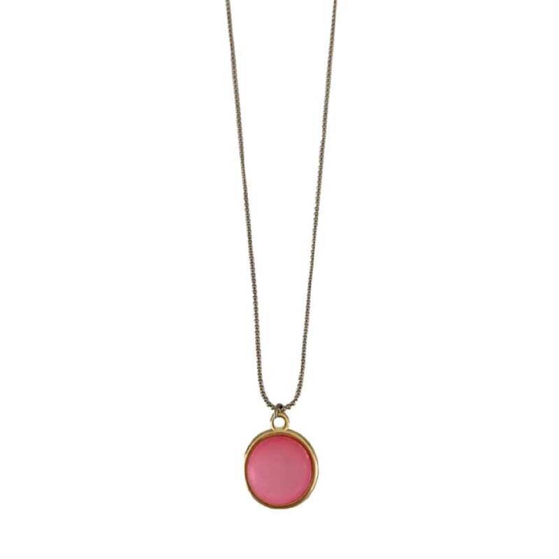 Necklace Coin - Pink (long)