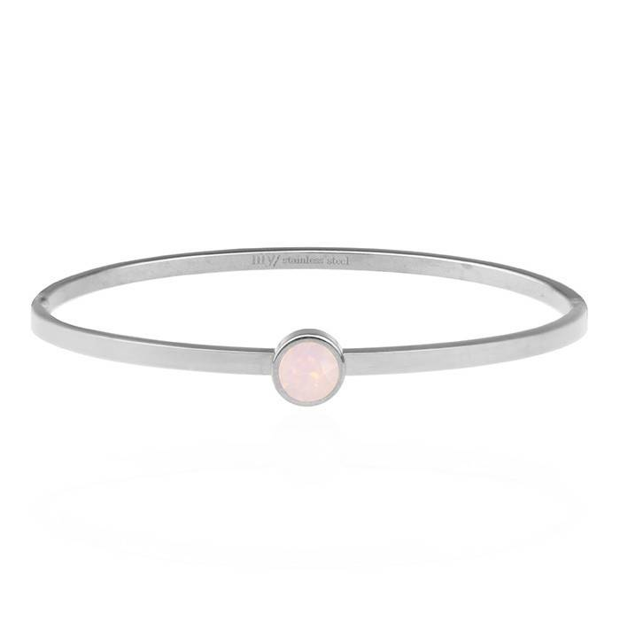 Little Stone Bangle Light Pink - Zilver