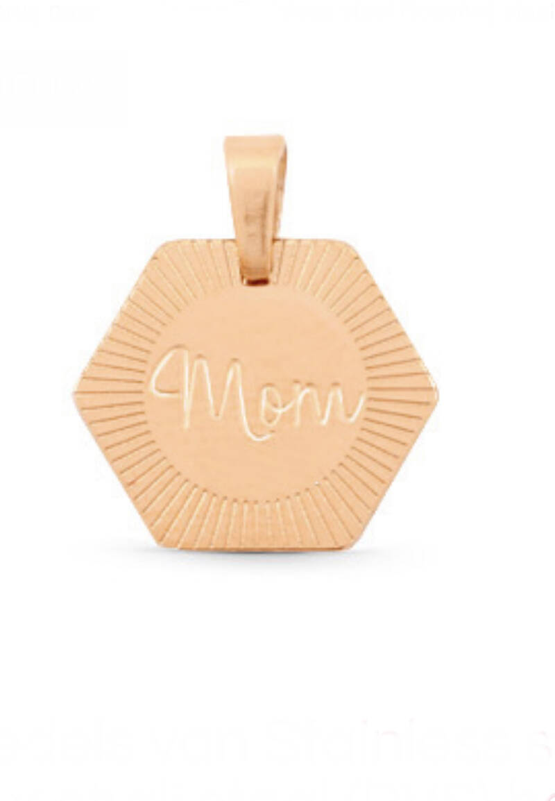 Stainless steel bedel mom rosé goud