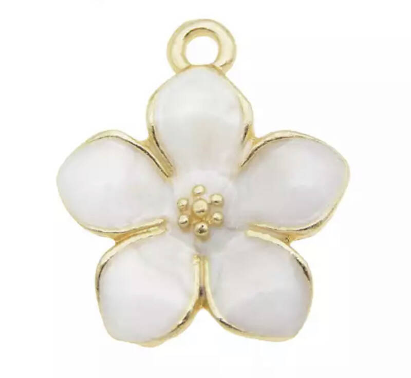 Bedel flower emaille Gold - White