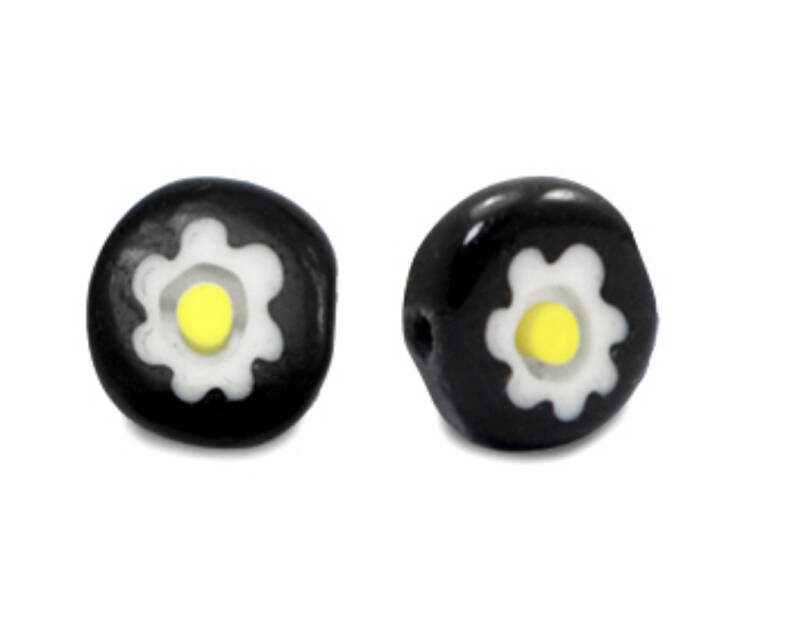 Millefiori glaskralen disc 8mm Black - white - yellow
