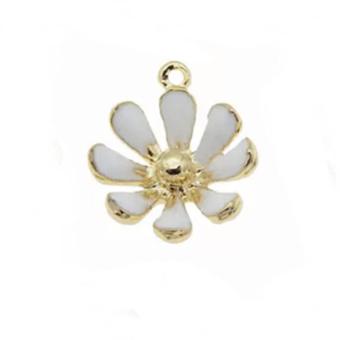 Bedel emaille Gold - White flower