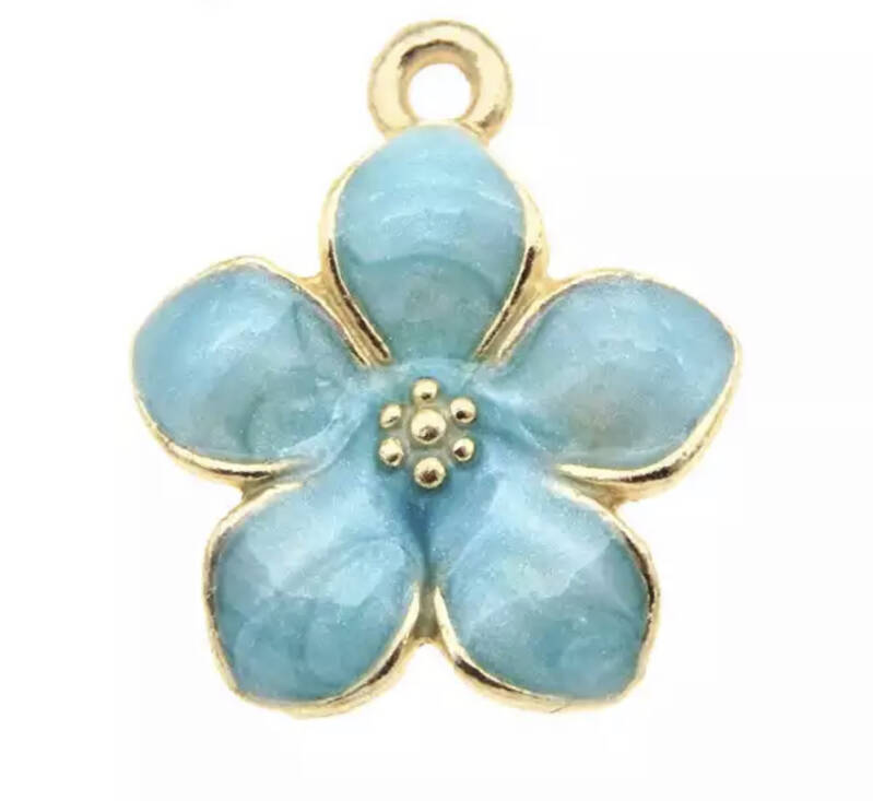 Bedel flower emaille Gold - blue
