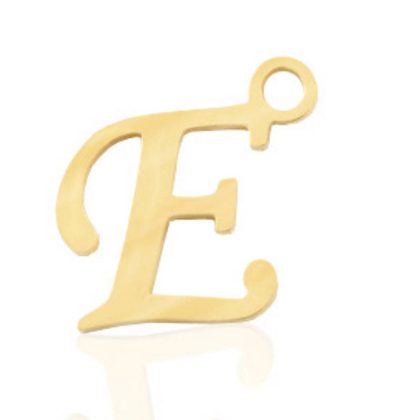 Stainless steel initial / letter E